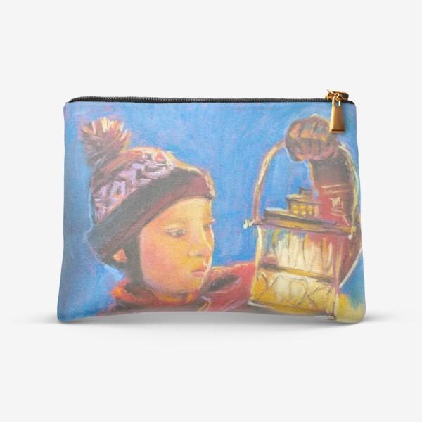 Косметичка «Мальчик с фонариком Портрет Рождественское чудо Пастель»