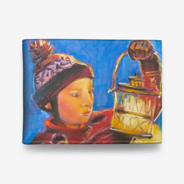 Кошелек «Мальчик с фонариком Портрет Рождественское чудо Пастель»