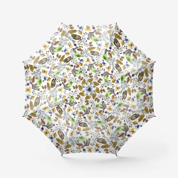 Зонт «Паттерн лесной на белом»