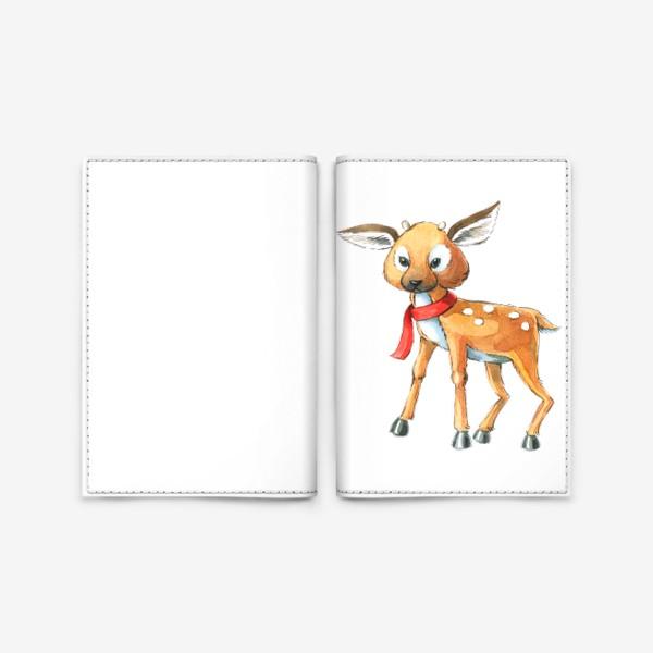Обложка для паспорта «Олененок в красном шарфе акварель»