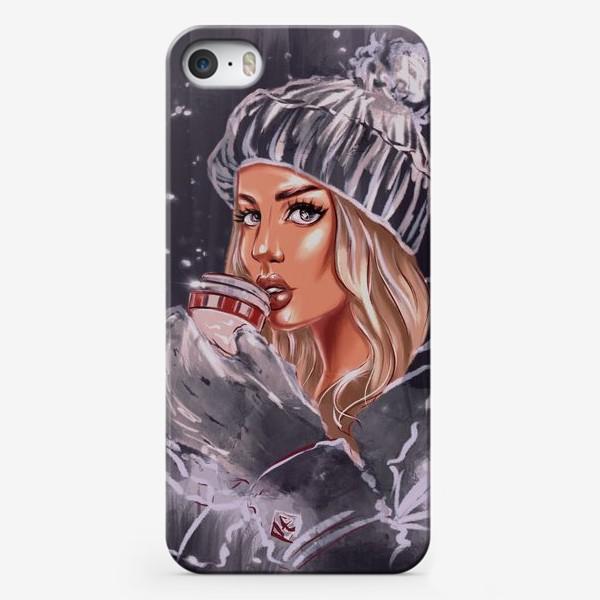 Чехол iPhone «Девушка Зима. Fashion Иллюстрация. Кофе тайм.»