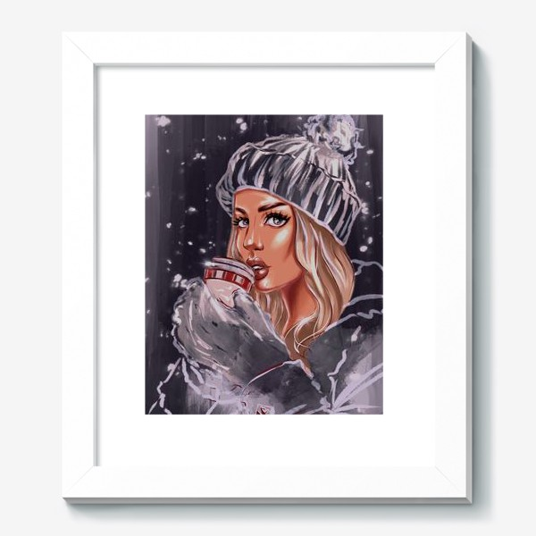 Картина «Девушка Зима. Fashion Иллюстрация. Кофе тайм.»