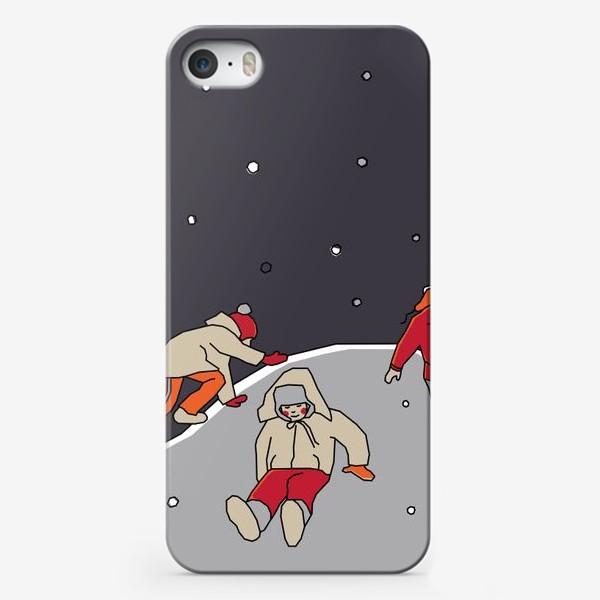 Чехол iPhone «Зимние забавы. Царь горы. Детская иллюстрация.»