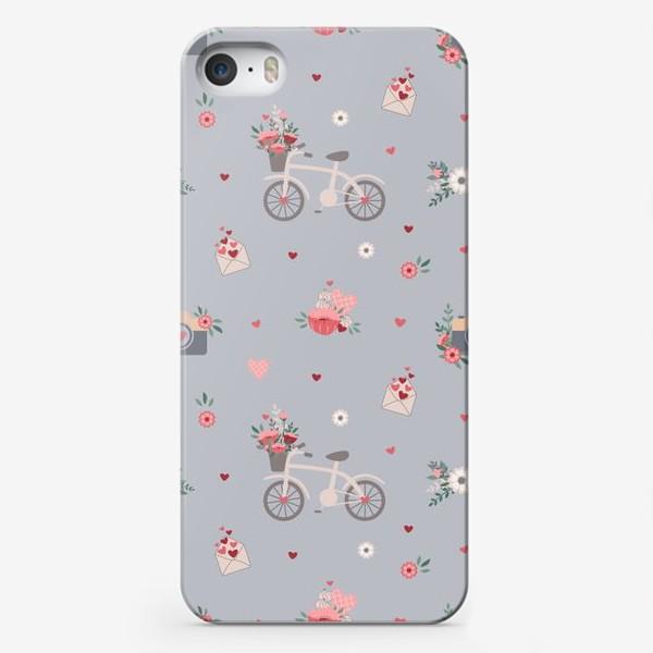 Чехол iPhone «День Святого Валентина, велосипед с цветами, букет»