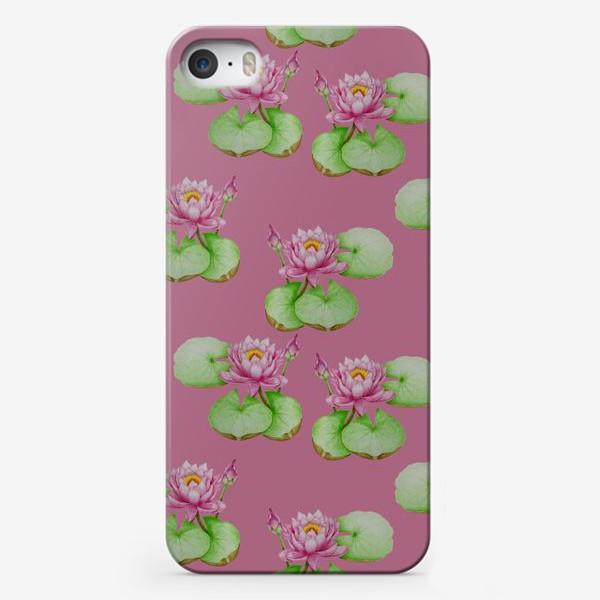 Чехол iPhone «Лотосы на розовом фоне»