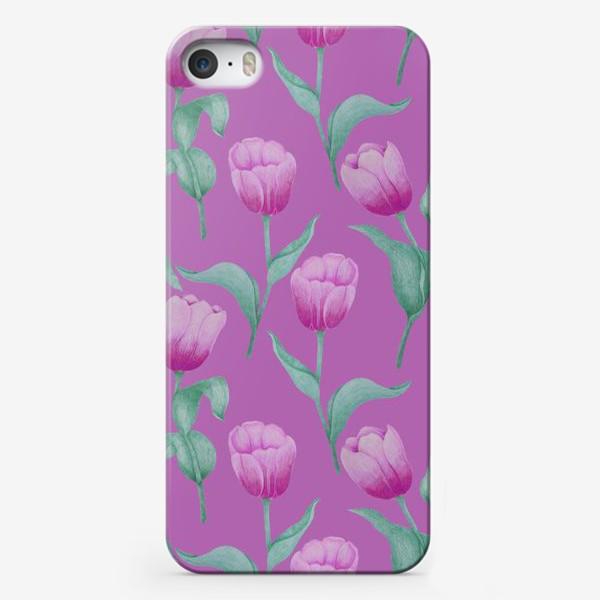 Чехол iPhone «Тюльпаны на розовом фоне»