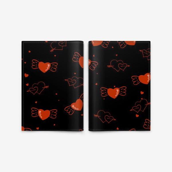 Обложка для паспорта «сердечки с крылышками»