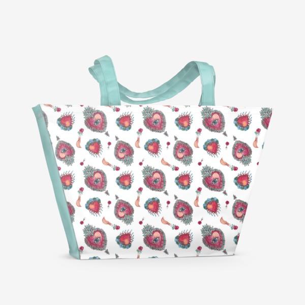 Пляжная сумка «Акварельный орнамент с винтажными украшениями»