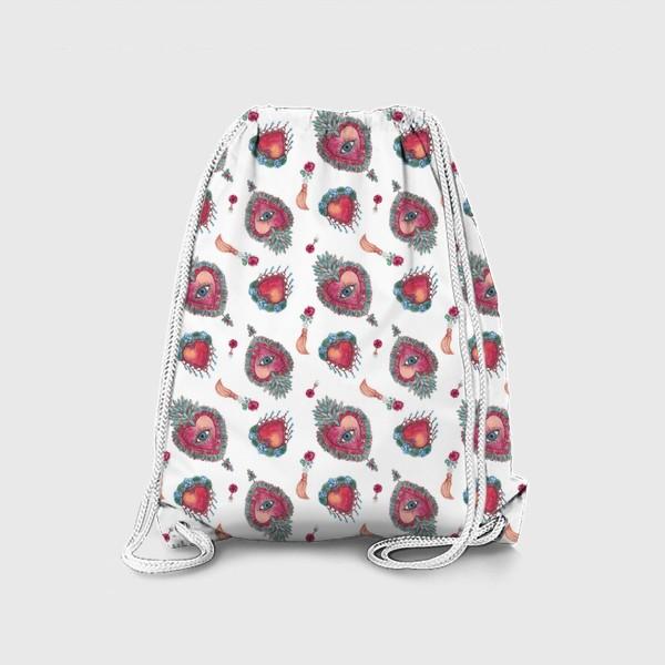 Рюкзак «Акварельный орнамент с винтажными украшениями»
