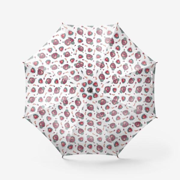 Зонт «Акварельный орнамент с винтажными украшениями»