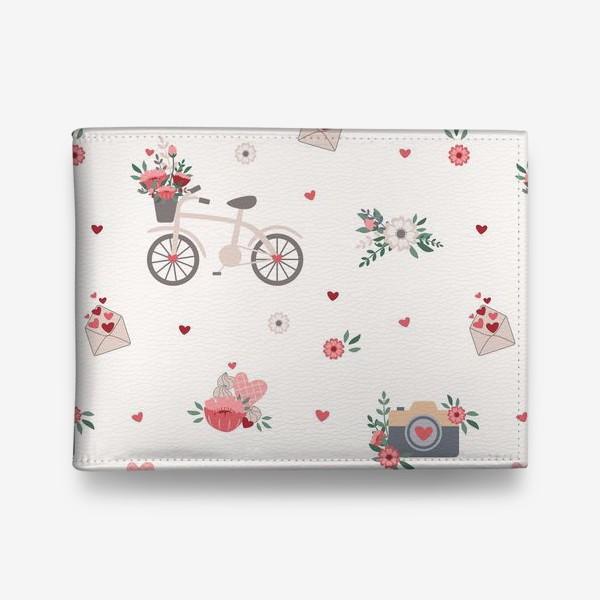 Кошелек «Валентинов день, паттерн с цветами, велосипед, письма»