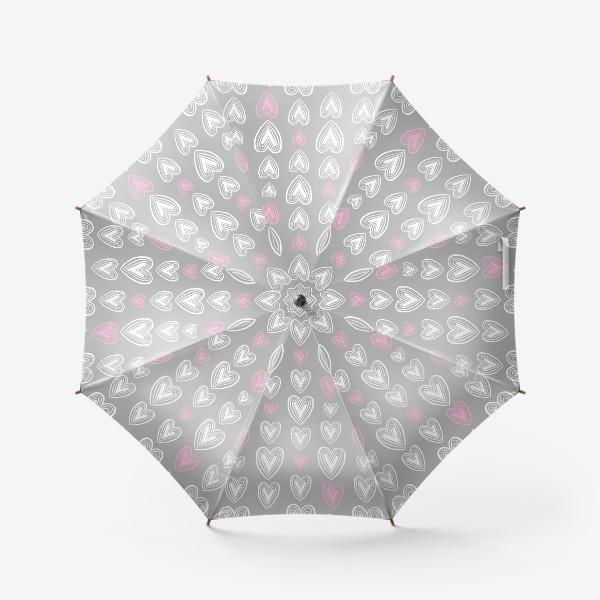 Зонт «Нежные сердечки на сером фоне»