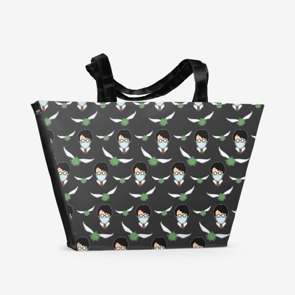 Пляжная сумка «Снитч коронавирус и гарри поттер в мед. маске паттерн»