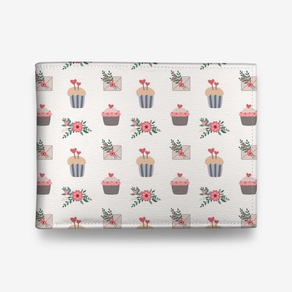 Кошелек «День Святого Валентина, пирожные, капкейки, цветы»