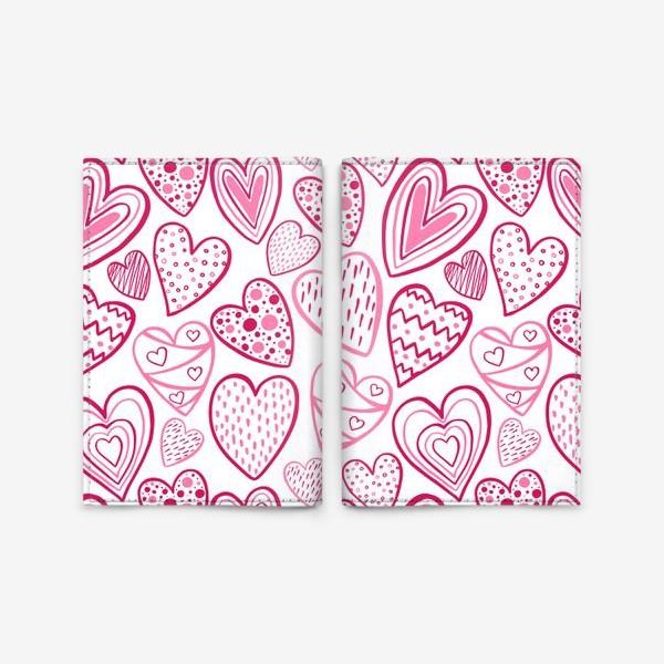 Обложка для паспорта «Стилизованные сердечки»