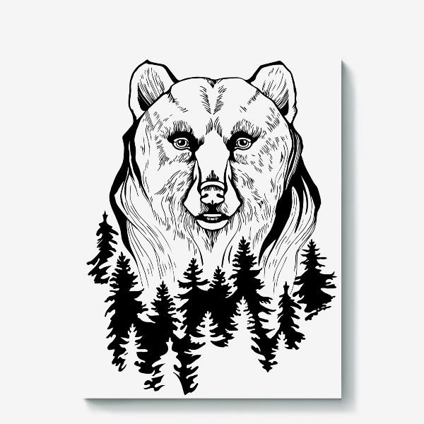Холст «Медведь и лес»