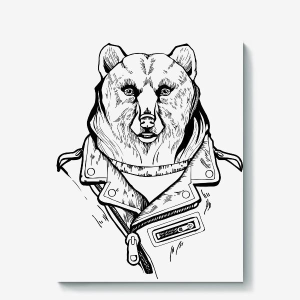 Холст «Медведь в куртке-косухе»
