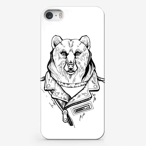 Чехол iPhone «Медведь в куртке-косухе»