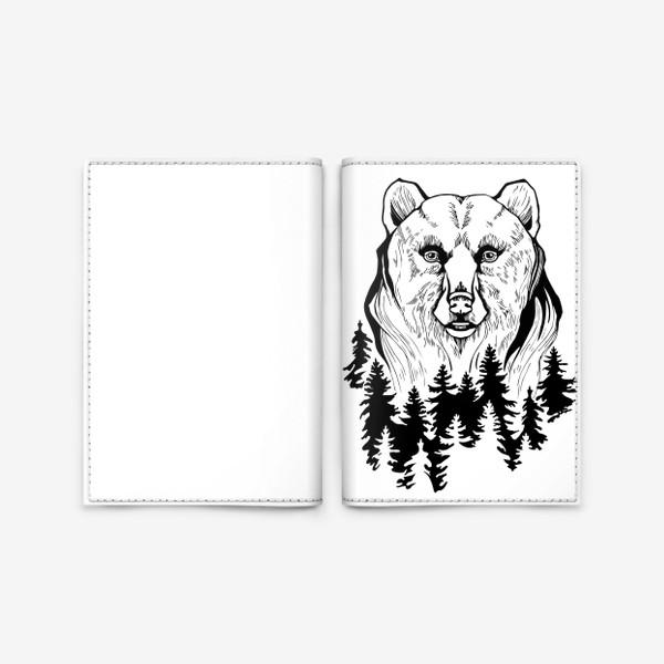 Обложка для паспорта «Медведь и лес»