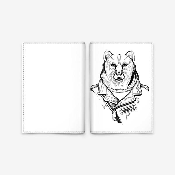Обложка для паспорта «Медведь в куртке-косухе»