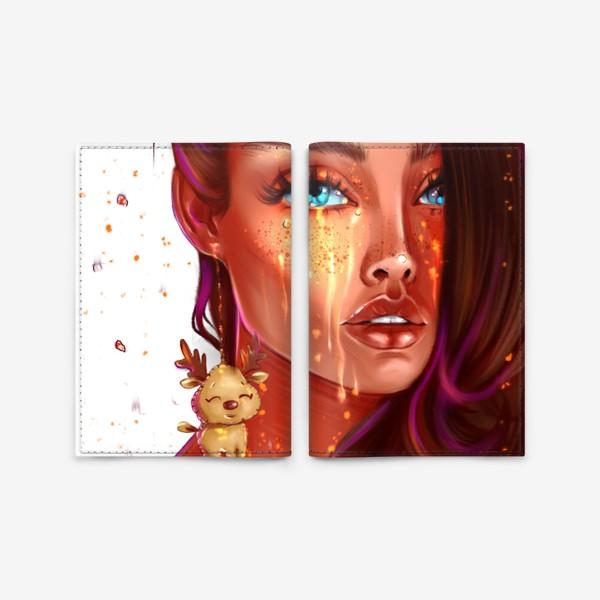 Обложка для паспорта «Девушка с сережкой оленя. Без фона. Fashion иллюстрация.»