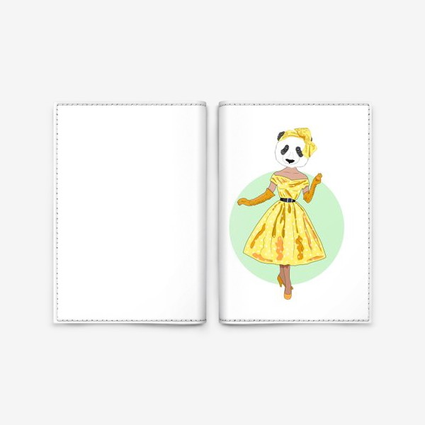 Обложка для паспорта «Панда-девушка в желтом платье аля 60е, антропоморфизм»
