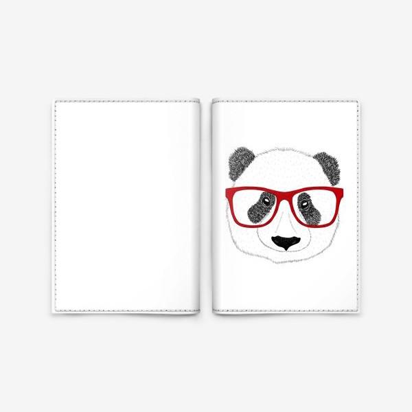 Обложка для паспорта «Панда-мужчина в очках, голова мишки, антропоморфизм»