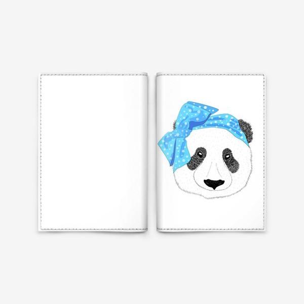Обложка для паспорта «Панда-девушка с синим бантом аля 60е, голова мишки, антропоморфизм»