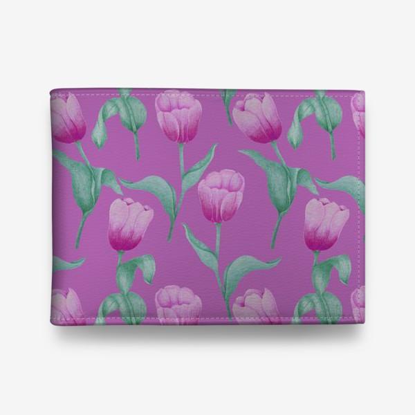 Кошелек «Тюльпаны на розовом фоне»