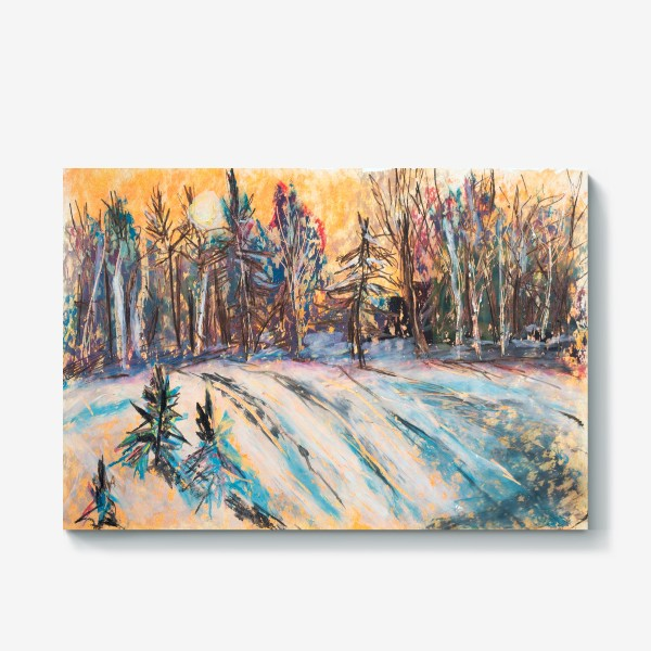 Холст «Зимний лес Закат Пейзаж Пастель»