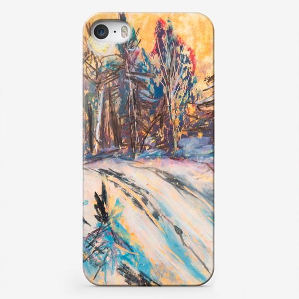 Чехол iPhone «Зимний лес Закат Пейзаж Пастель»