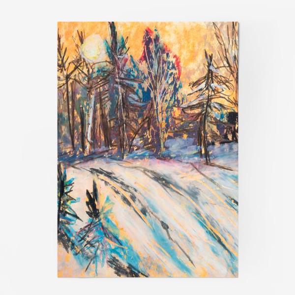 Постер «Зимний лес Закат Пейзаж Пастель»
