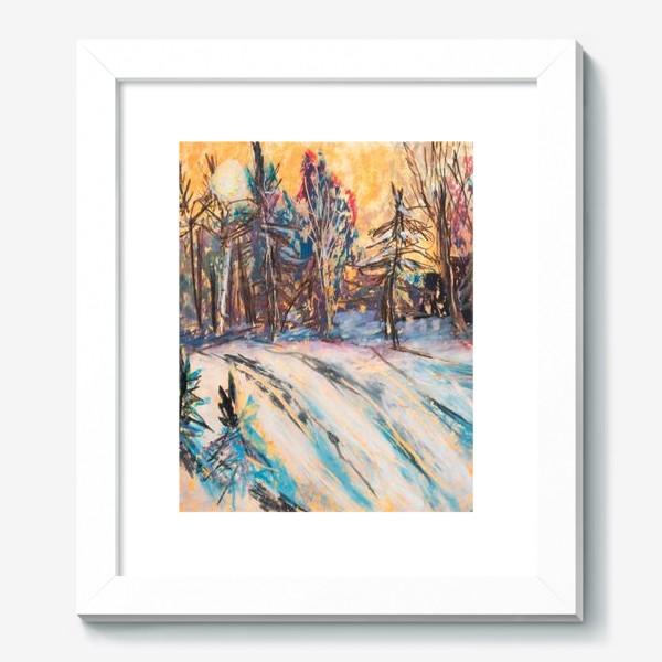 Картина «Зимний лес Закат Пейзаж Пастель»