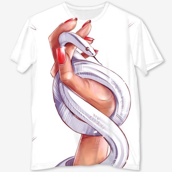 Футболка с полной запечаткой «Рука со змеей. Без фона. Год змеи. Fashion иллюстрация.»