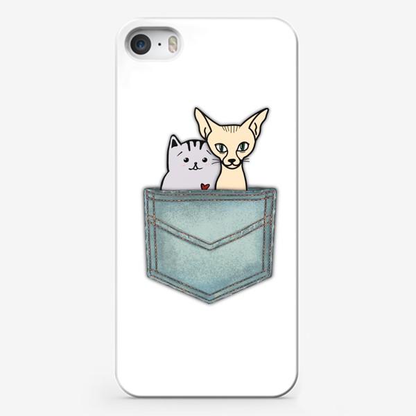 Чехол iPhone «В кармашке. Всегда вместе. Ко Дню влюблённых. Кошка и кот.»