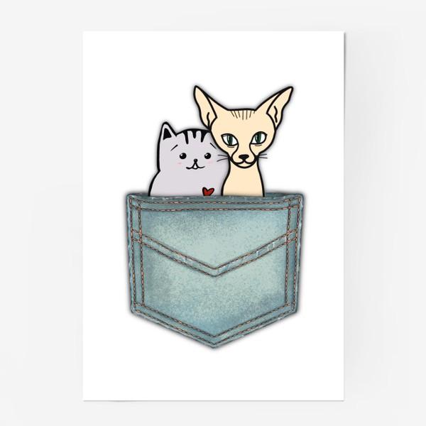 Постер «В кармашке. Всегда вместе. Ко Дню влюблённых. Кошка и кот.»