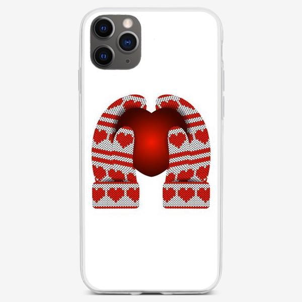 Чехол iPhone «Сердечный подарок (руки в варежках держат сердце)»