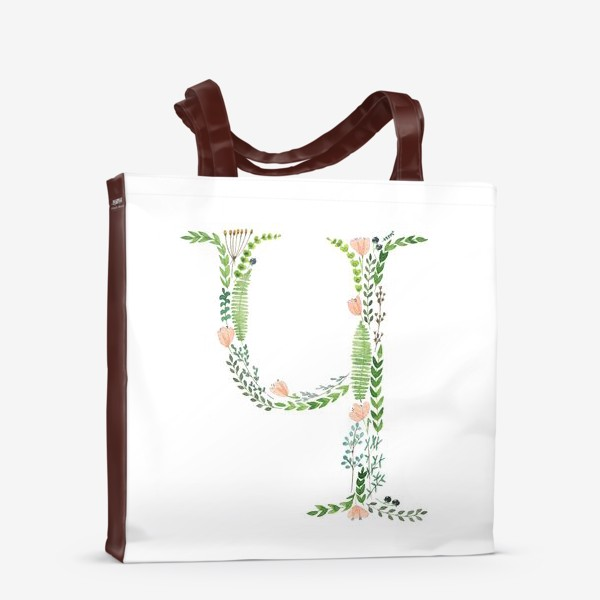 Сумка-шоппер «Буква Ч из веточек, цветов, листиков и ягод.»