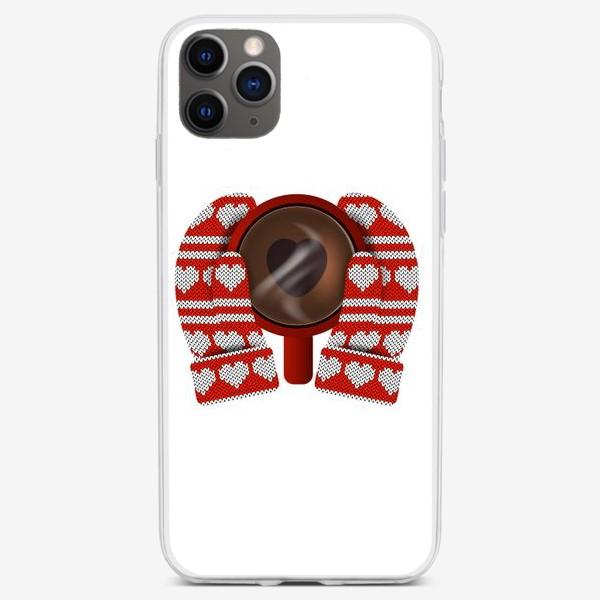 Чехол iPhone «Горячий сердечный подарок (руки в варежках держат кружку кофе)»