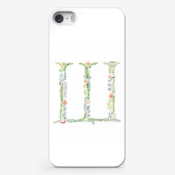 Чехол iPhone «Буква Ш из веточек, листиков, цветов и ягод.»
