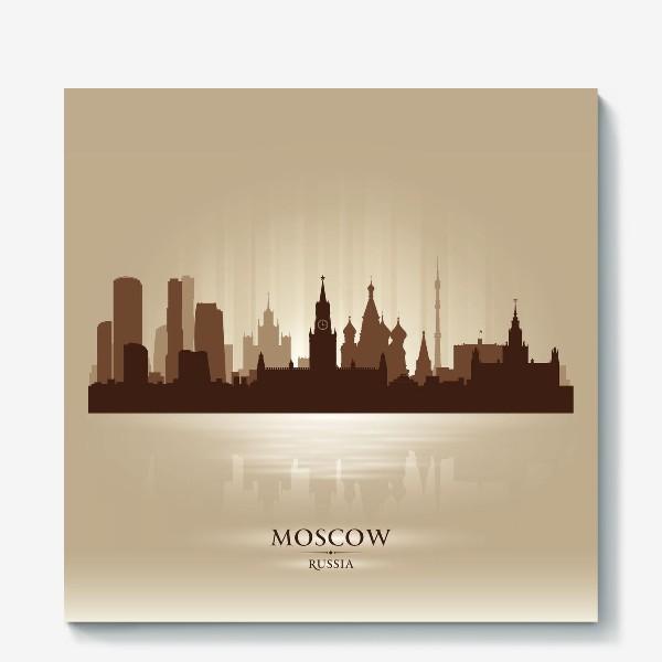 Холст «Москва бронзовый силуэт города»