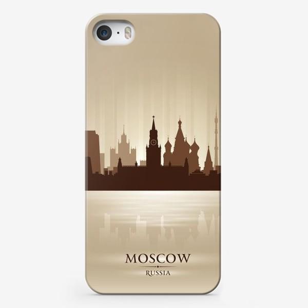 Чехол iPhone «Москва бронзовый силуэт города»