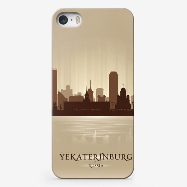Чехол iPhone «Екатеринбург бронзовый силуэт города»