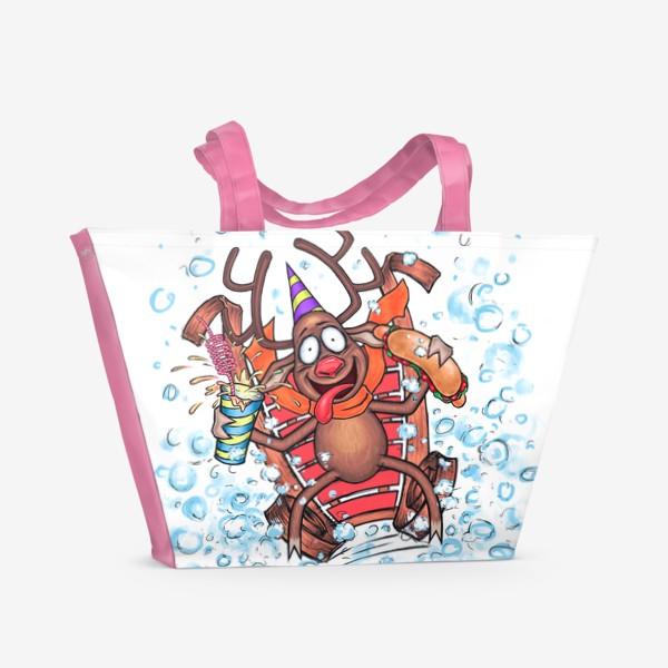 Пляжная сумка «Олень на санках»