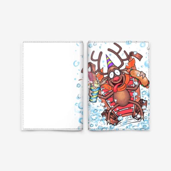 Обложка для паспорта «Олень на санках»