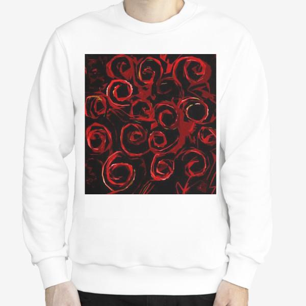 Свитшот «Красные розы абстракция»