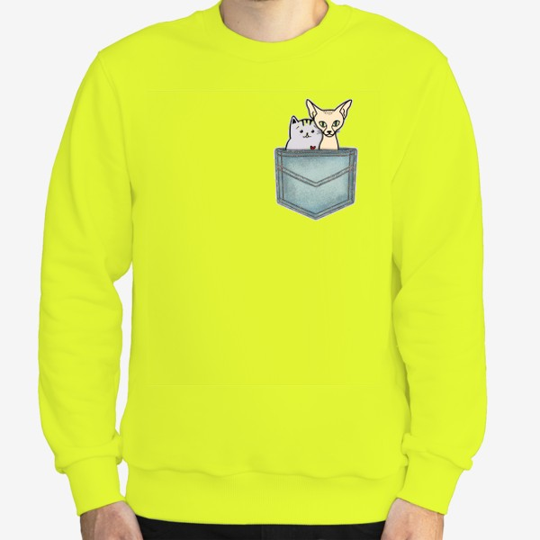 Свитшот «В кармашке. Всегда вместе. Ко Дню влюблённых. Кошка и кот.»