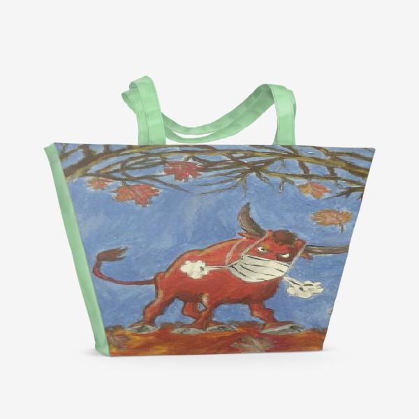 Пляжная сумка «Бык антивирусный»