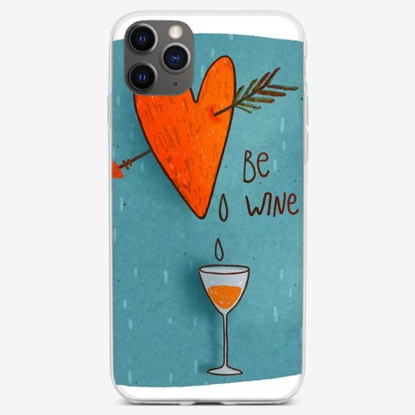 Чехол iPhone «Стрела пронзает сердце и льется вино. Леттеринг. День Св. Валентина»