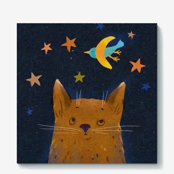 Холст «Котенок ночью смотрит на птицу-месяц»